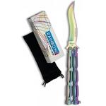 Balisong rainbow 22,2cm couteau papillon + pochette..