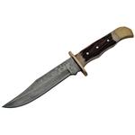 Poignard couteau 26cm lame DAMAS - Bois cerf laiton.