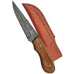 Poignard couteau 17,2cm lame DAMAS - Bois dolivier...