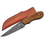 Poignard couteau 17,2cm lame DAMAS - Bois d'olivier