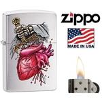 Briquet Zippo officiel - Coeur et épée squelette.