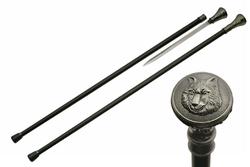 Canne épée 92cm baton de marche - Design Loup
