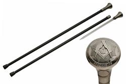 Canne épée 92cm baton de marche - Design Franc-Maçon