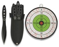 3 Couteaux de lancer 15,2cm + cible jet