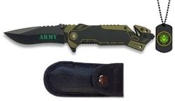 Couteau militaire army + plaque métal + étui