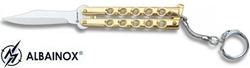 Balisong porte-clé 13,5cm - Couteau papillon doré
