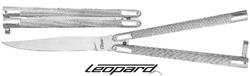 Couteau papillon balisong argenté 24cm - Léopard