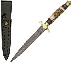 Poignard dague 33,5cm lame DAMAS - Couteau commando