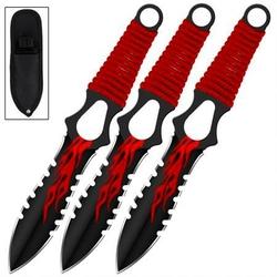 3 Couteaux de lancer 19cm FIRE - Couteau full tang