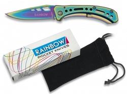 Couteau pliant titane rainbow 15,5cm + pochette