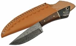 Poignard couteau 20,5cm lame DAMAS - Laiton, bois et corne