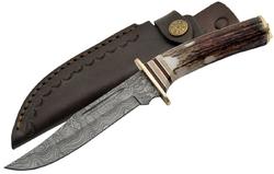 Poignard couteau 26,5cm lame DAMAS - Corne Laiton
