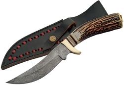 Poignard couteau 25,5cm lame DAMAS - Manche corne laiton