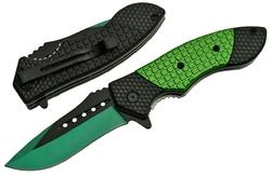 Couteau pliant 19,8cm clip ceinture - noir et vert