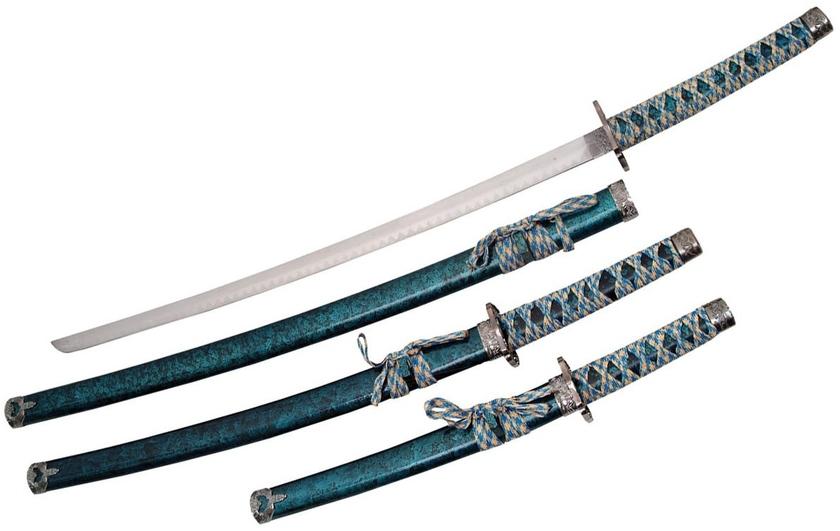 3 katanas japonais socle d co katana bleu aqua ep e