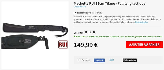 Machette RUI Titane 38cm tactique full tang...