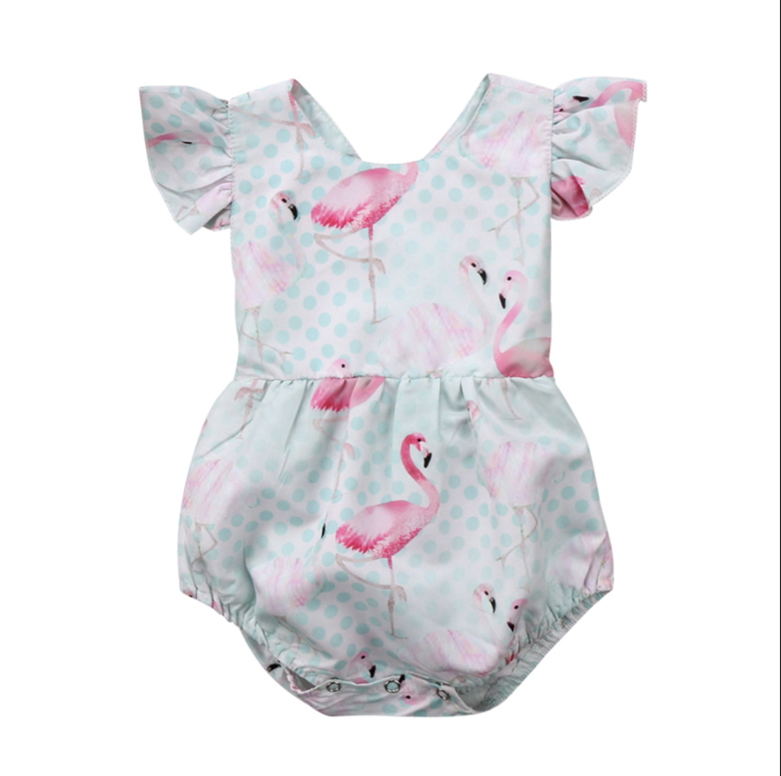 Barboteuse bébé fille robe flamant rose