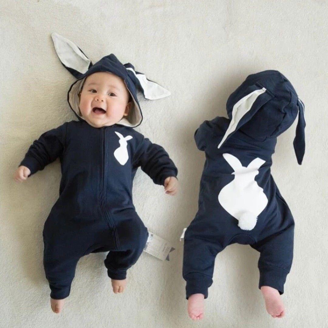Barboteuse queue de lapin zippée à manches longues pour bébé unisexe