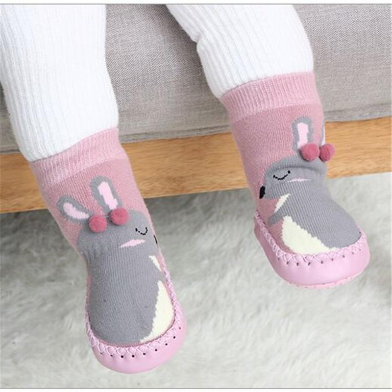 Chaussettes antidérapantes montantes pour bébé avec motif lapin