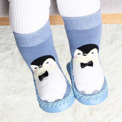 Chaussettes antidérapantes montantes pour bébé avec motif pingouins