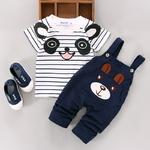 Ensemble t-shirt panda & salopette lapin pour bébé