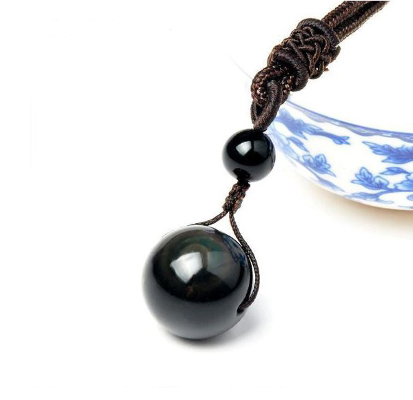 Pendentif Perle Obsidienne Protection