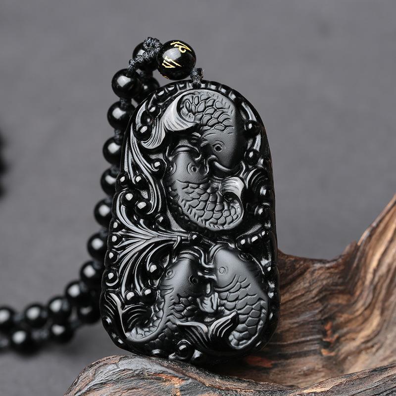 Pendentif en obsidienne Protection-Richesse