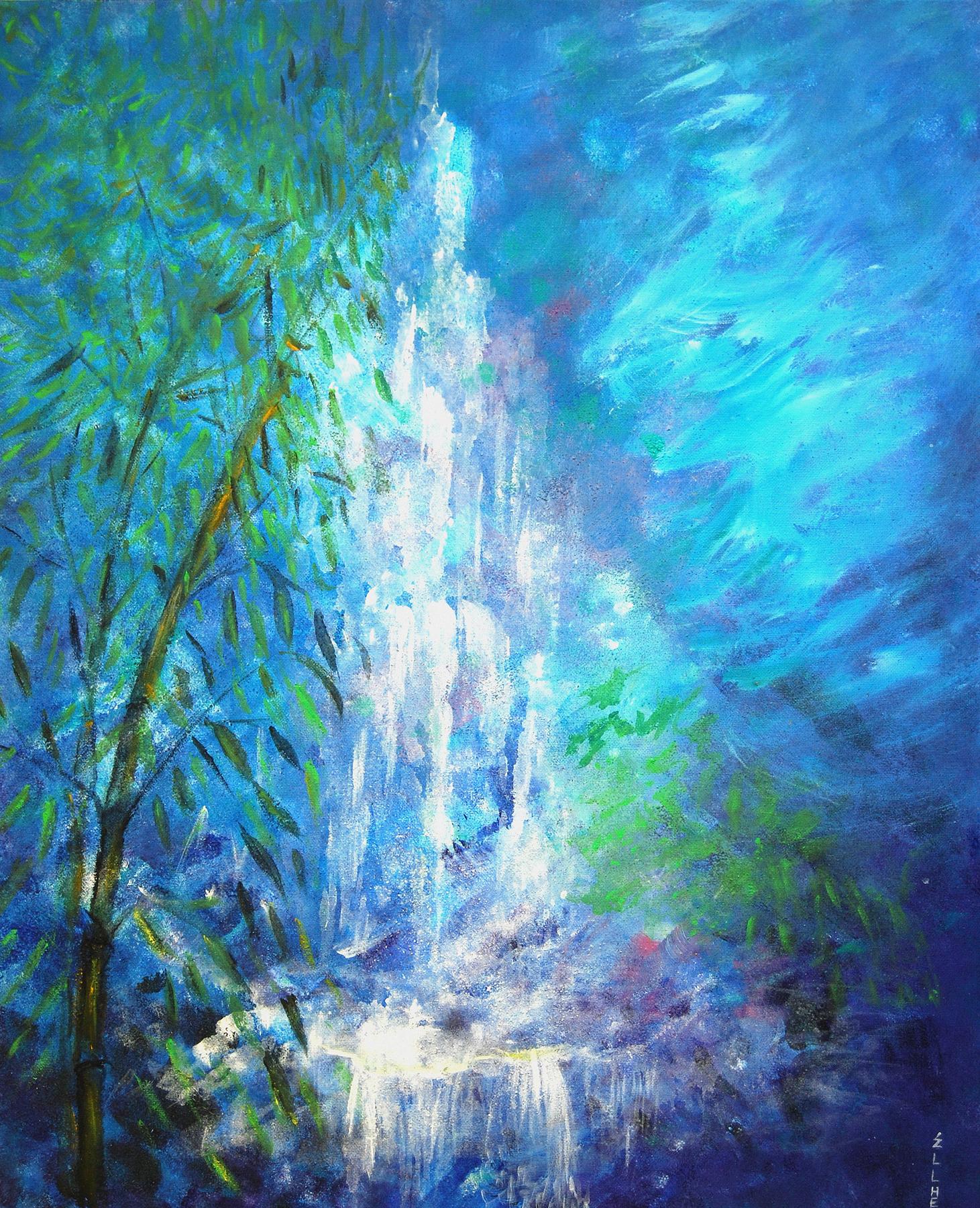 tableau-feng-shui-cascade-bambous-peintre-ellhea