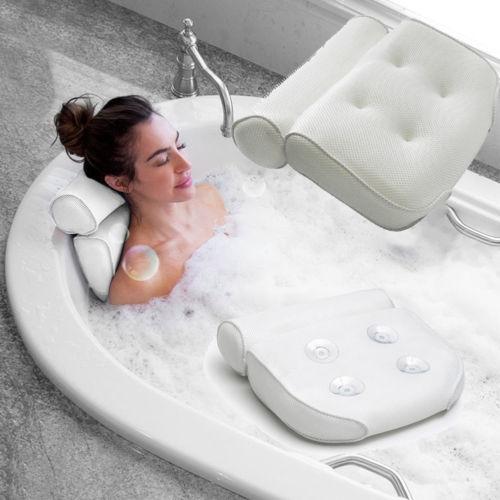 Oreiller de bain avec ventouses