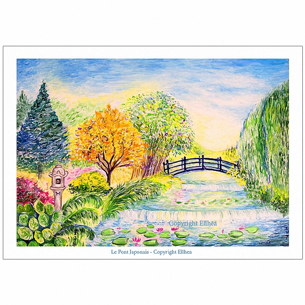 Poster feng-shui cascade Pont-Japonais
