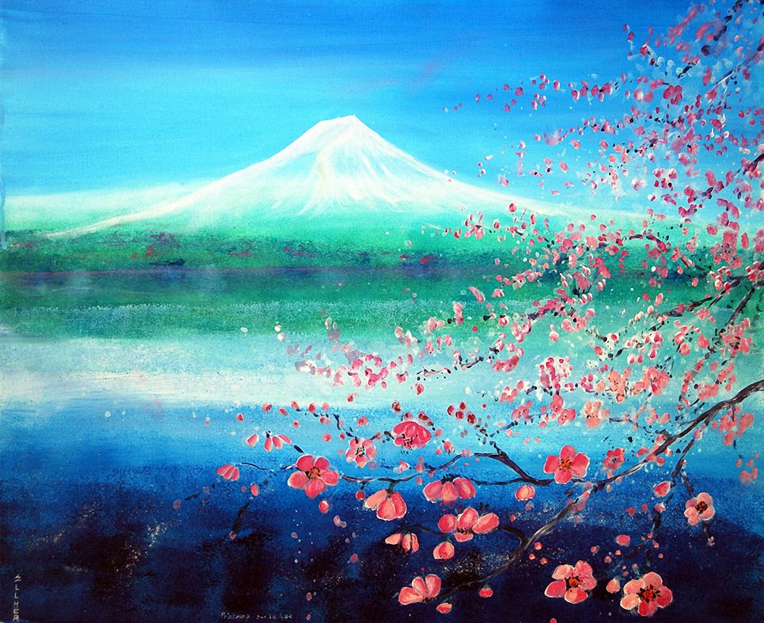 toile zen printemps lac ellhea