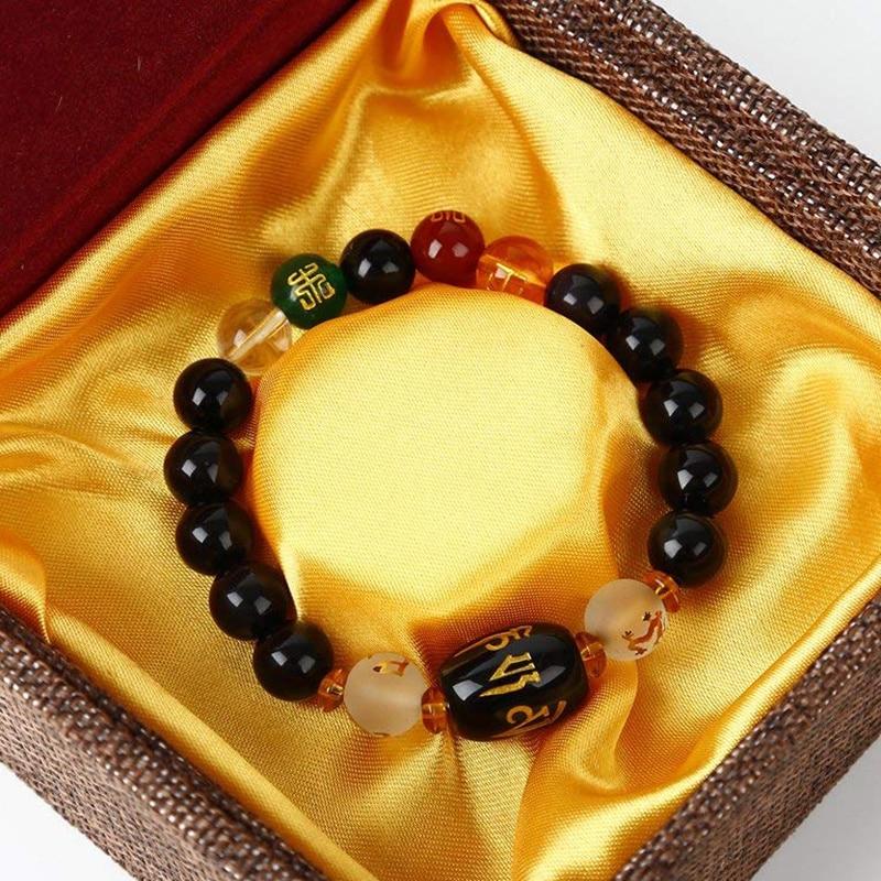 Bracelet feng-shui obsidienne prospérité