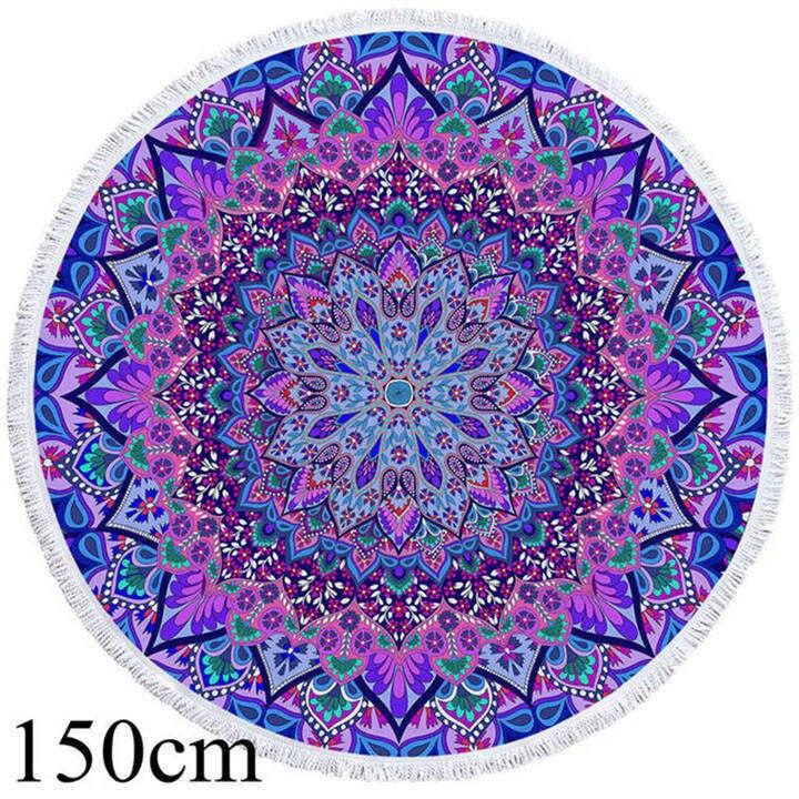 Tapis de méditation bohème bleu-violet