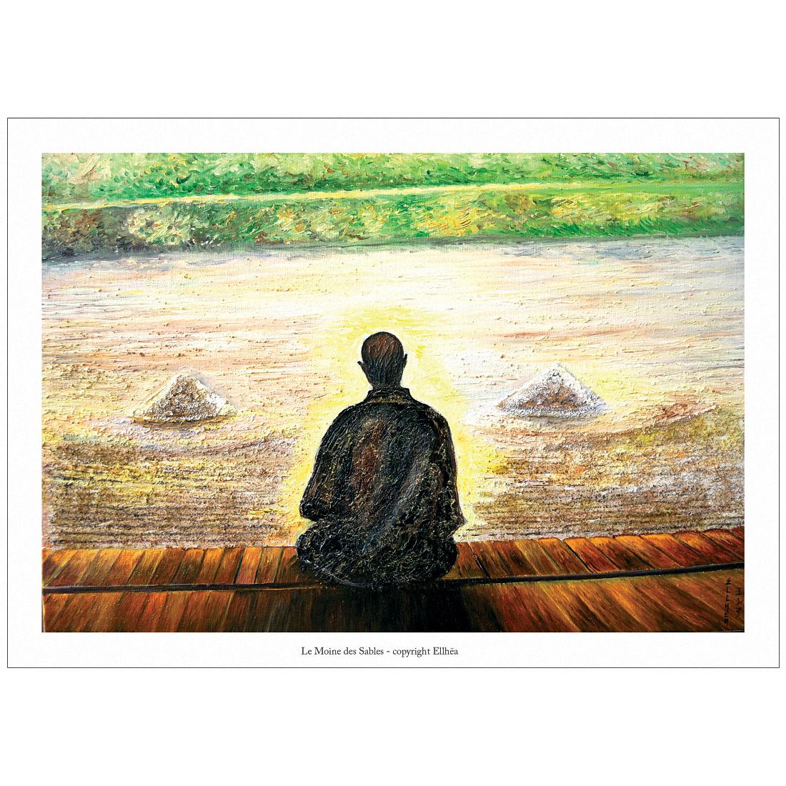 Poster méditation zen Moine des Sables Peinture Ellhëa