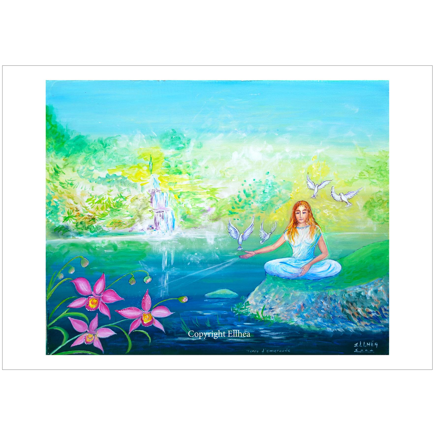 poster meditation terre emeraude peinture ellhea