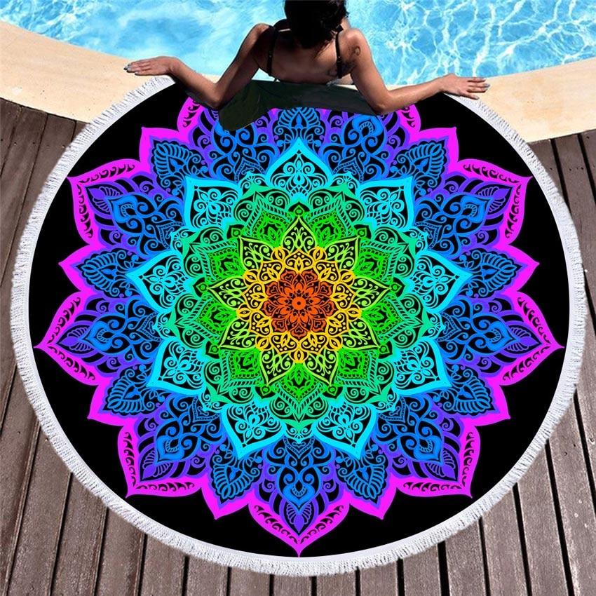 Tapis de méditation Mandala violet rose bleu