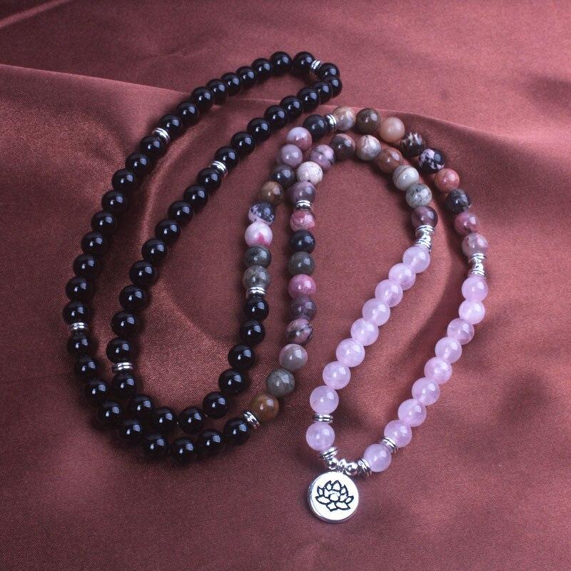 8mm-noir-Onyx-Rhodonite-Rose-Quartzs-perl-poignet-hommes-femmes-pierre-naturelle-Mala-collier-vie-arbre