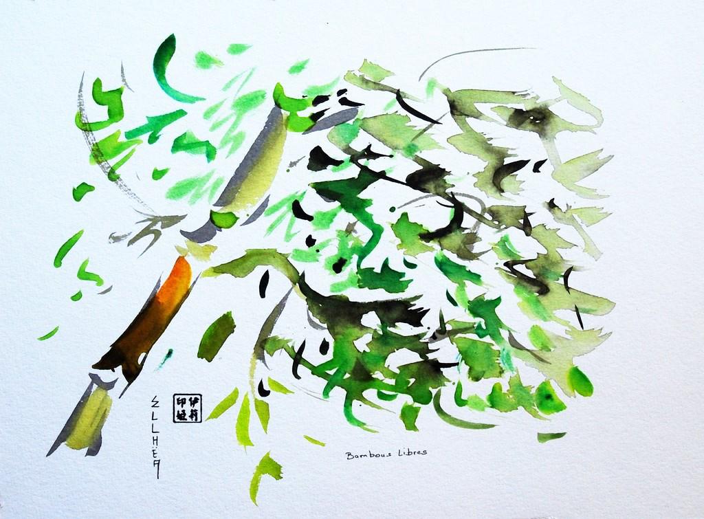 Aquarelle Bambous Libres