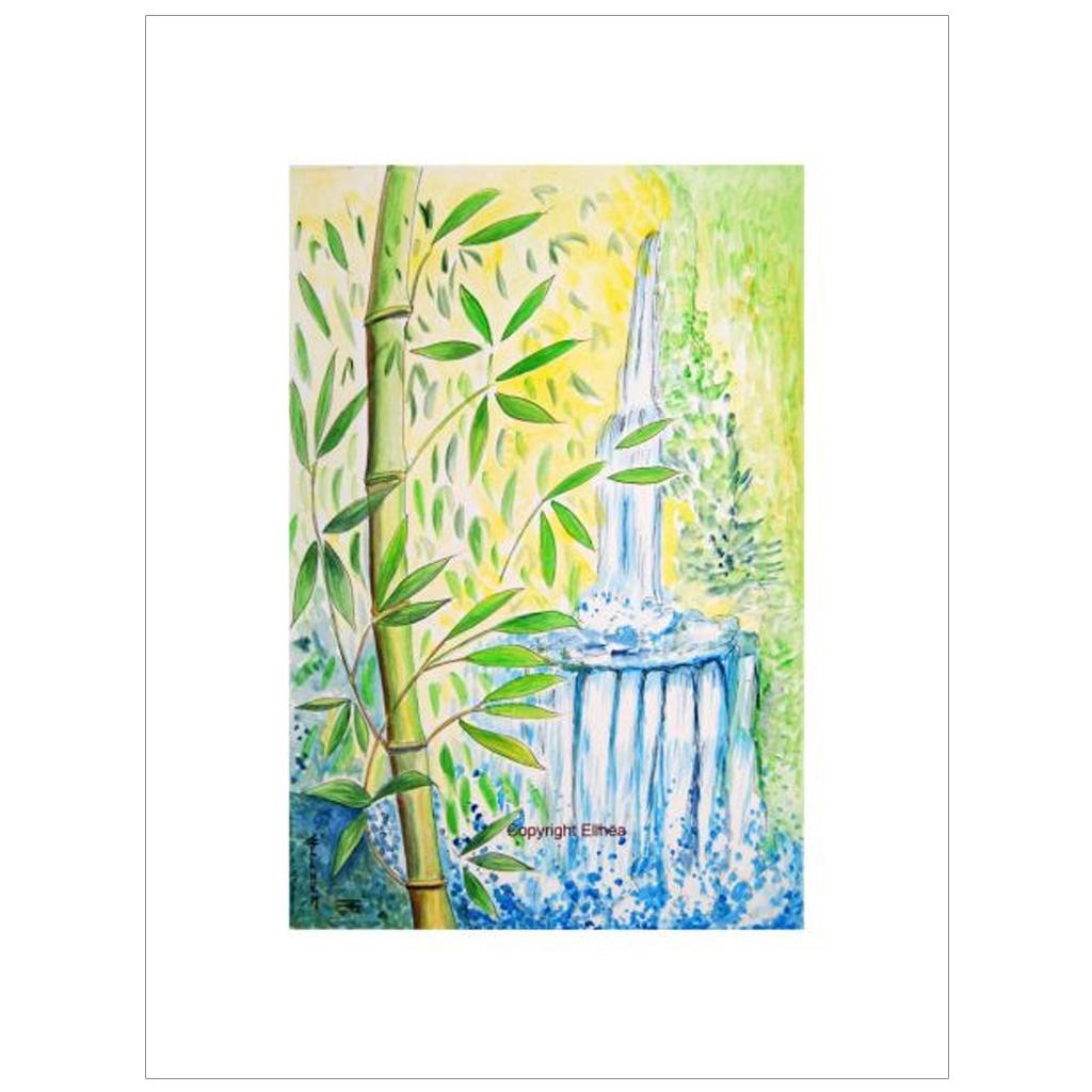 bambous et cascade aquarelle