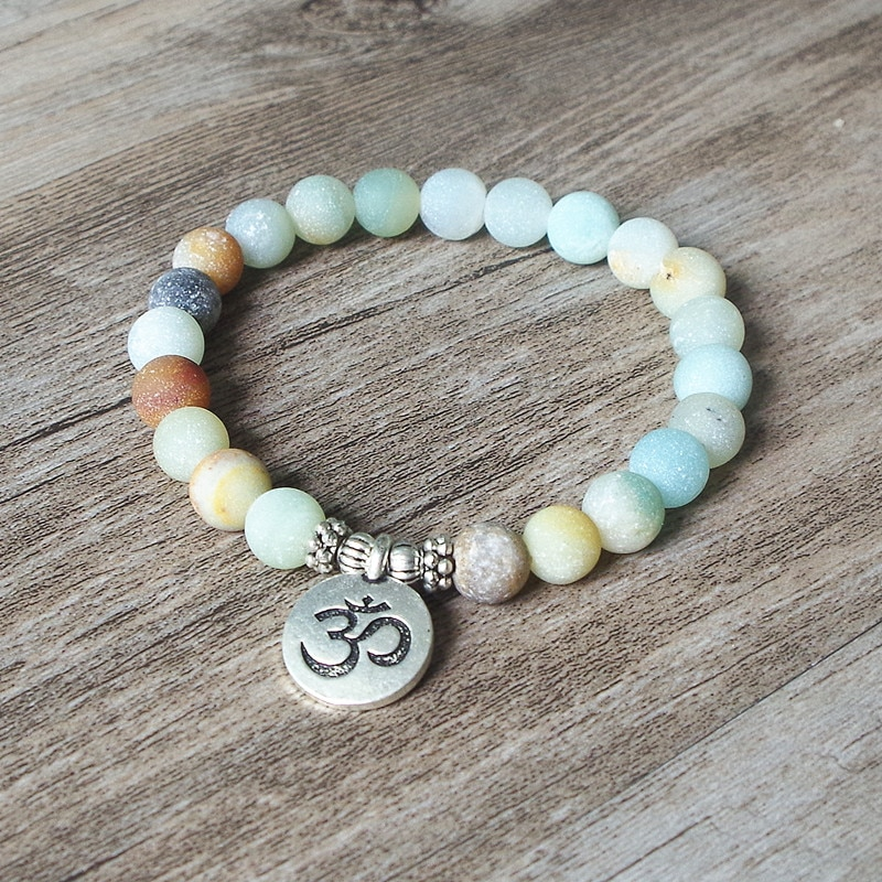 Bracelet en pierre Amazonite mate