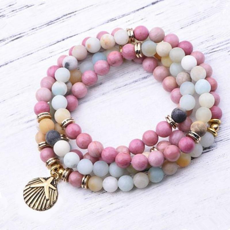 Bracelet mala perles multicolores