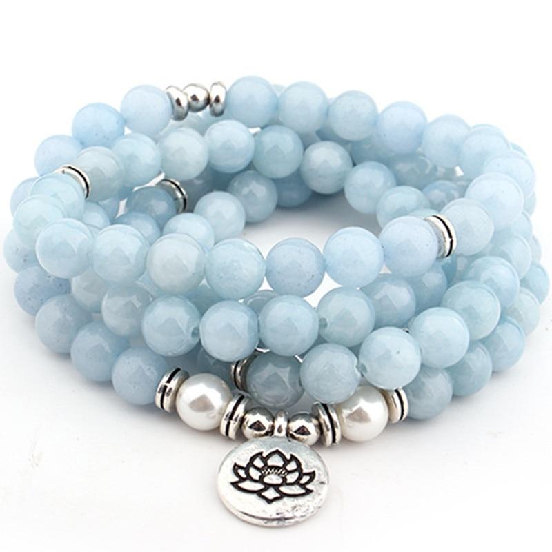 Mala bleu ciel bracelet yoga