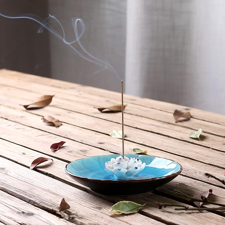 Brûleur d\'encens Lotus en céramique