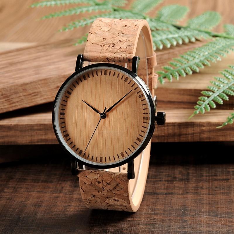 Montre ultra mince en bois et bambou