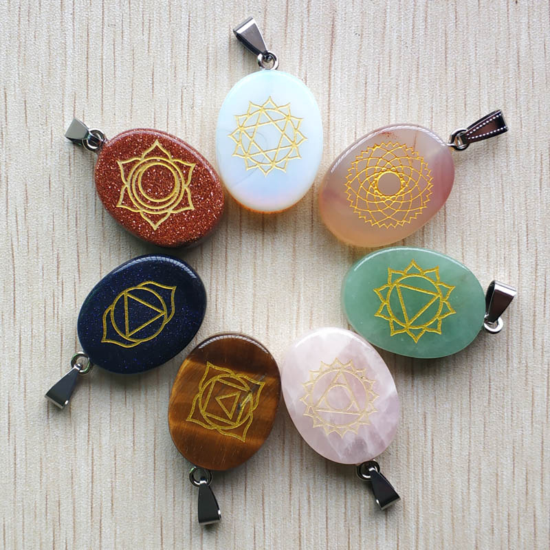 Lot pendentifs pierres 7 chakras