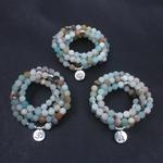Bracelet-de-mode-pour-femmes-perles-d-amazonite-givr-es-mates-avec-Lotus-OM-bouddha-Bracelet