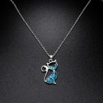 pendentif et chaîne chat bleu boutique zen style
