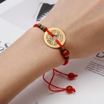 Feng-Shui-I-Ching-Ancient-Coin-Kabbalah-Red-String-Attract-Luck-Wealth-Bracelets