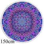 Tapis yoga meditation rond bleu violet 150 cm boutique zen style