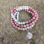 DIEZI-bouddhiste-Reiki-multicolore-Amazonite-Shell-Bracelet-breloques-pierre-naturelle-108-Mala-perles-Bracelet-collier-pour